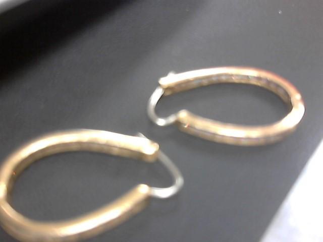 White Stone Gold-Stone Earrings 10K Yellow Gold 9.8g