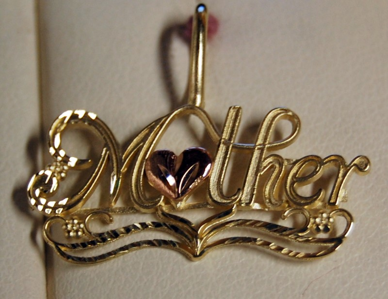 14K Yellow & Rose Gold Mother Heart Charm 1.4G
