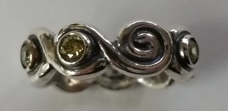 Authentic Retired Pandora Green Swirl Ring Band 190205CZP S. 6.5