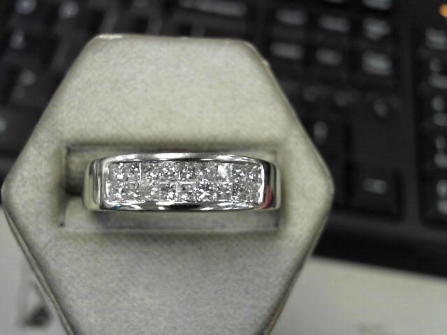 Gent's Gold-Diamond Wedding Band 18 Diamonds 1.08 Carat T.W. 14K White Gold
