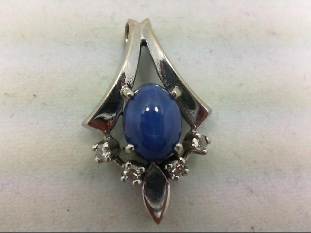 Synthetic Sapphire Gold-Diamond & Stone Pendant 4 Diamonds 0.12 Carat T.W. 14K W