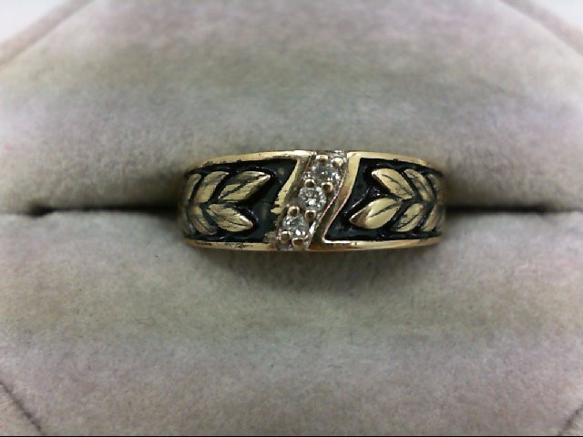 Lady's Diamond Wedding Band 3 Diamonds 0.03 Carat T.W. 10K Yellow Gold 4.3g Size