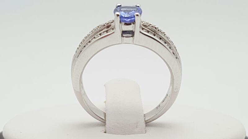 Lady's Tanzanite & Diamond Ring 42 Diamonds .28 Carat T.W. 14K White Gold
