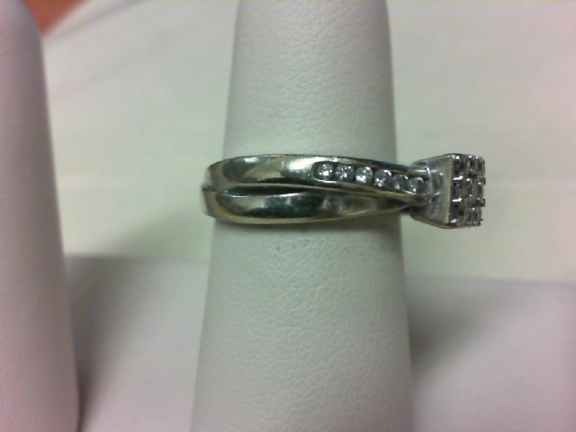Lady's Diamond Engagement Ring 21 Diamonds .58 Carat T.W. 14K White Gold 5.9g