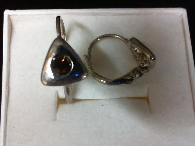Orange Stone Silver-Stone Earrings 925 Silver 2.3g