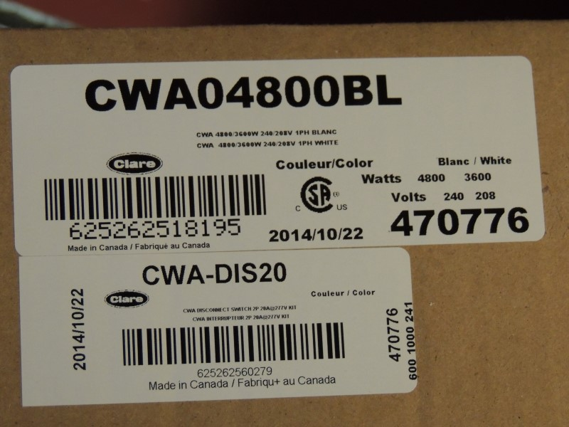 Clare CWA Series Architectural Wall Insert Heater White CWA04800BL NEW IN BOX