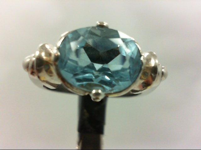 Synthetic Blue Topaz Lady's Silver & Stone Ring 925 Silver 6.2g Size:7.75