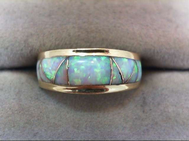 BEAUTIFUL DESIGNER LADY'S GOLD AND OPAL ENLAY Ladys Gold Ring 14K Yellow Gold 3g