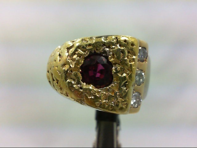 Ruby Gent's Stone & Diamond Ring 3 Diamonds .30 Carat T.W. 14K White Gold