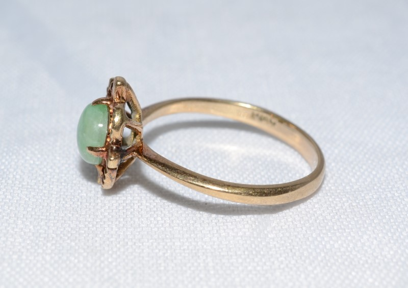 Jade Lady's Stone Ring 14K Yellow Gold 2.4g