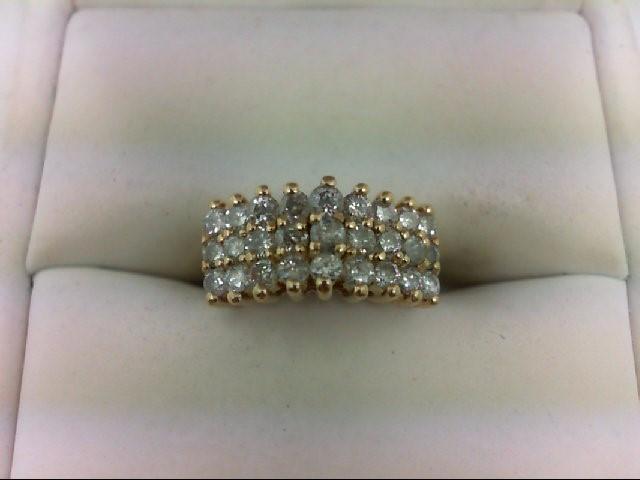 Lady's Diamond Cluster Ring 27 Diamonds 1.08 Carat T.W. 14K Yellow Gold 3.9g Siz