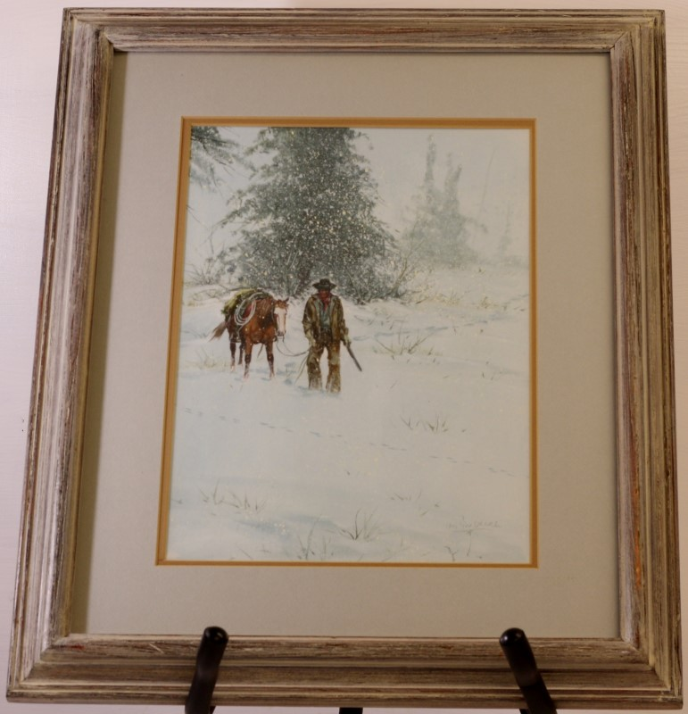 "AUSTIN DEUEL ""SNOWY MORNING"" Original Painting, Framed & Matted"