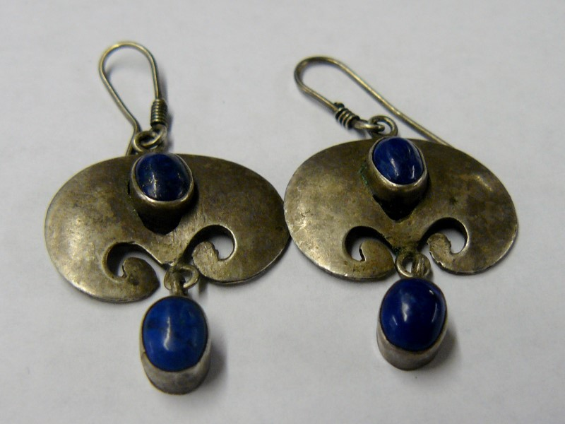 Blue Stone Silver-Stone Earrings 925 Silver 6.28dwt