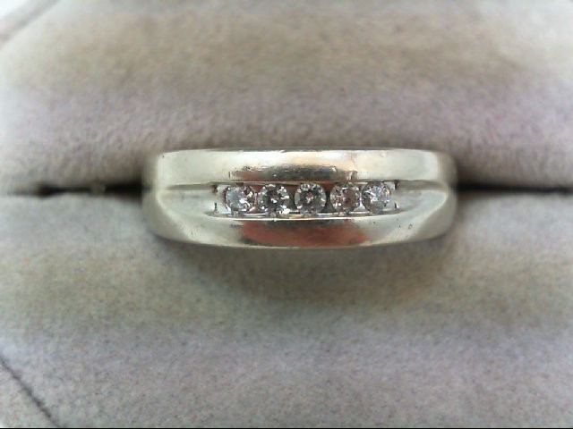 Gent's Gold-Diamond Wedding Band 5 Diamonds 0.2 Carat T.W. 10K White Gold 5.2g