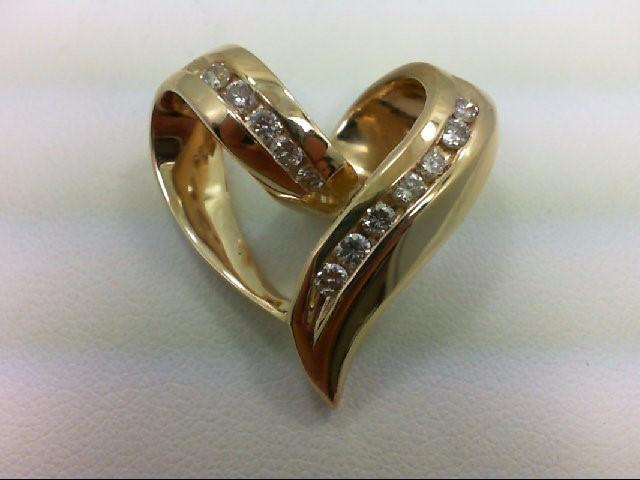 Gold-Multi-Diamond Pendant 12 Diamonds 0.72 Carat T.W. 14K Yellow Gold 6.5g