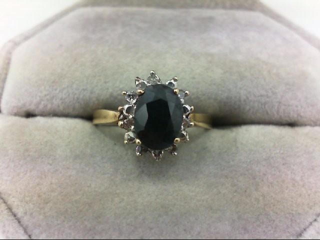 Sapphire Lady's Stone & Diamond Ring 14 Diamonds .14 Carat T.W. 10K Yellow Gold