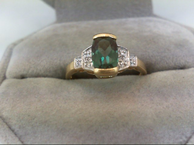 Synthetic Teal Stone Lady's Stone & Diamond Ring 6 Diamonds 0.06 Carat T.W. 14K