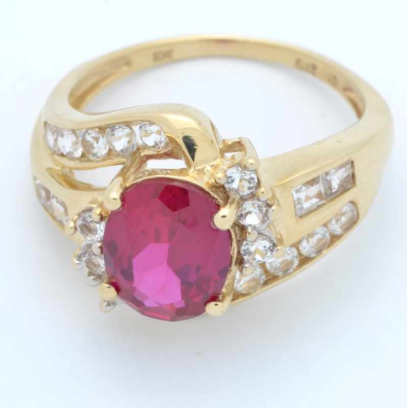 ESTATE RED WHITE STONE RING SOLID 10K YELLOW GOLD OVAL CUT SIZE 7