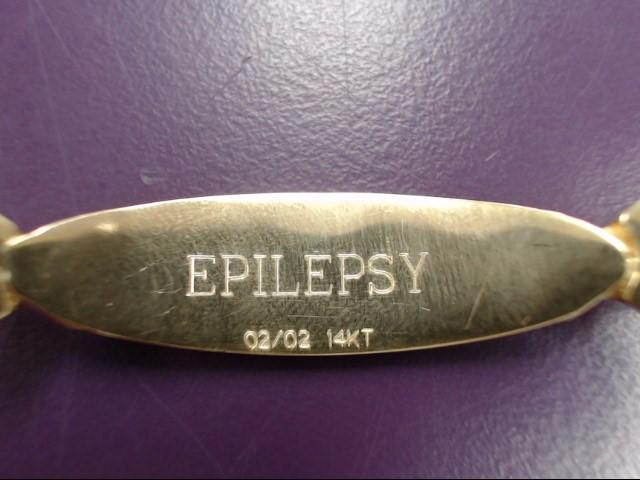 EPILEPSY MEDICAL ALERT BRACELET 14KYG 13.03g 7 INCH