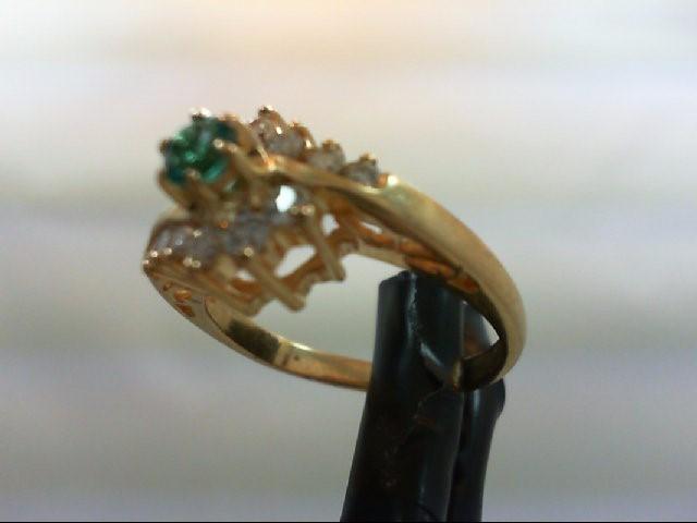 Emerald Lady's Stone & Diamond Ring 12 Diamonds 0.3 Carat T.W. 14K Yellow Gold 3
