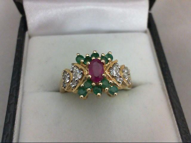 Emerald Lady's Stone & Diamond Ring 12 Diamonds 0.24 Carat T.W. 14K Yellow Gold