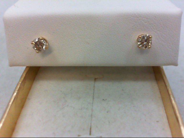 Gold-Diamond Earrings 2 Diamonds .36 Carat T.W. 14K Yellow Gold 0.6g