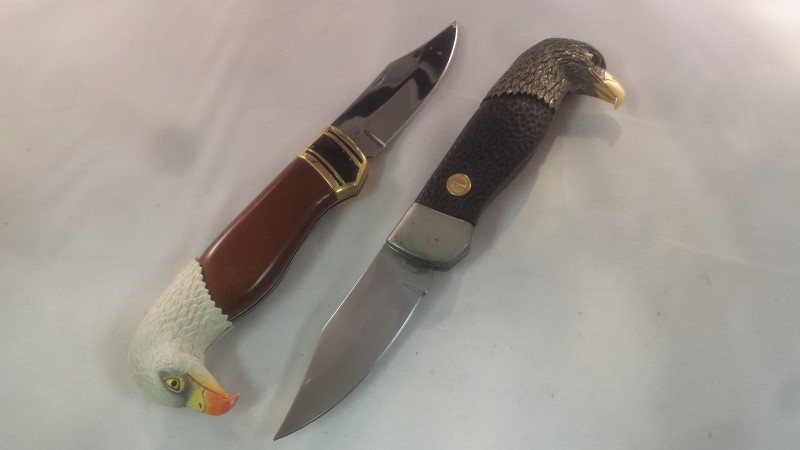 Lot of 10 Franklin Mint Collector's Pocket Knives, Western, Eagle, Ford w/ Case