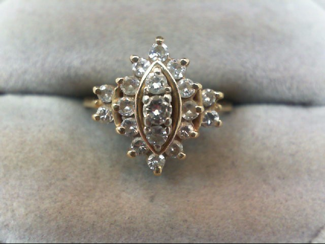 Lady's Diamond Cluster Ring 19 Diamonds .62 Carat T.W. 14K Yellow Gold 3.2g