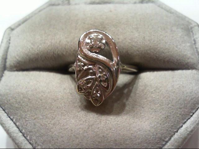 Lady's Diamond Fashion Ring 5 Diamonds .12 Carat T.W. 14K White Gold 3.2g