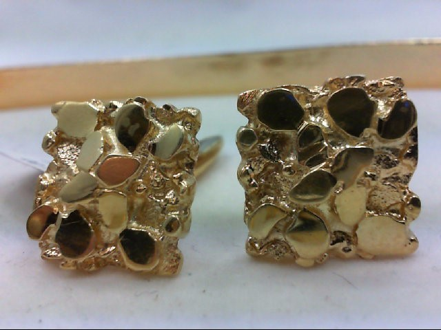 Gold Nugget Cuff Links 14K Yellow Gold 19.2g