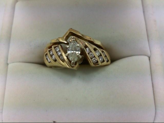 Lady's Diamond Wedding Set 17 Diamonds 0.65 Carat T.W. 14K Yellow Gold 6.3g Size