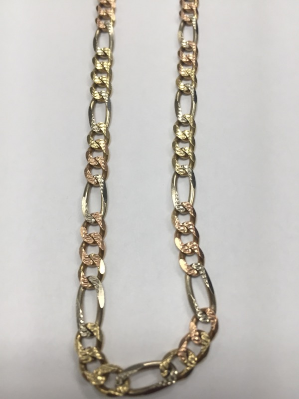 "20"" Gold Figaro Chain 14K Tri-color Gold 16.29g"