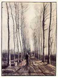 VANGOUGH THE ROAD WITH POPLARS FRAMRD PRINT