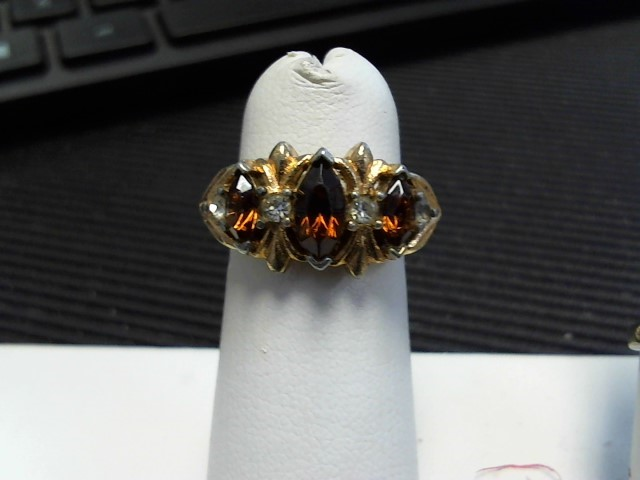 Synthetic Orange Tourmaline Lady's Stone Ring Yellow Gold Filled 1g