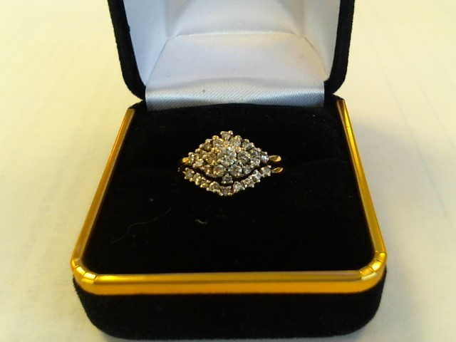 Lady's Diamond Cluster Ring 28 Diamonds .72 Carat T.W. 14K Yellow Gold 3dwt