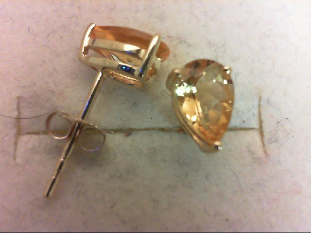 Citrine Gold-Stone Earrings 14K Yellow Gold 0.9g