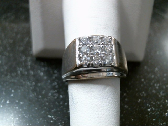 Gent's Diamond Cluster Ring 9 Diamonds .54 Carat T.W. 14K White Gold 6.9g