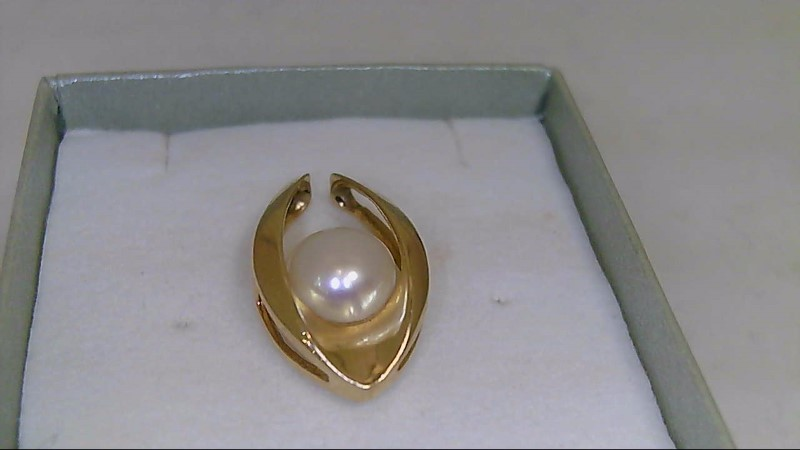 Synthetic Pearl Gold-Stone Pendant 14K Yellow Gold