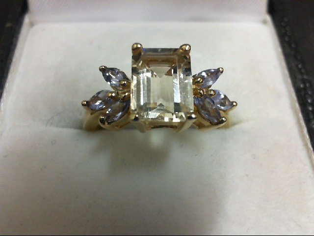 Synthetic Yellow Stone Lady's Stone Ring 14K Yellow Gold 3g