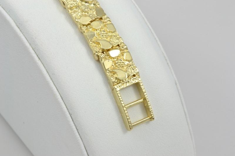 ESTATE SOLID 14K YELLOW GOLD NUGGET ID BRACELET MEN 10mm 20.4g FINE