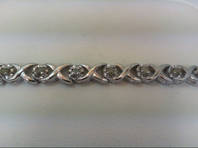 Silver-Diamond Bracelet 24 Diamonds .91 Carat T.W. 925 Silver 7.5g