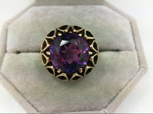 Synthetic Alexandrite Lady's Stone Ring 14K Yellow Gold 7.4g