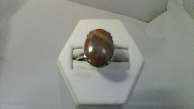 Brown Stone Lady's Stone Ring 10K White Gold 5g