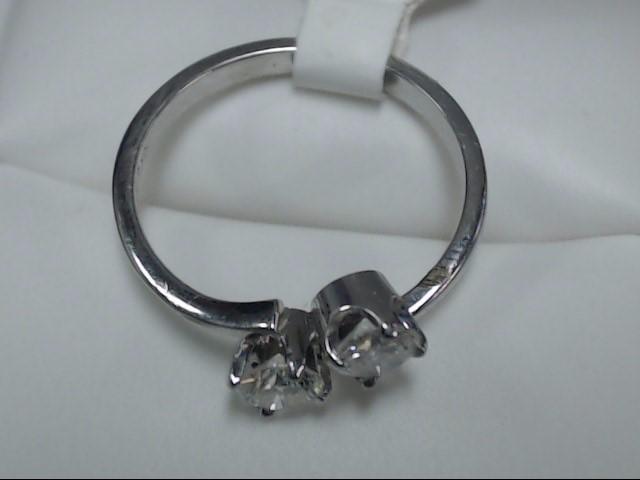 Lady's Diamond Fashion Ring 2 Diamonds 0.6 Carat T.W. 10K White Gold 1.9g Size:4