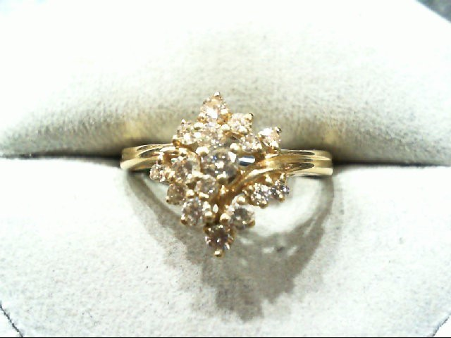 Lady's Diamond Cluster Ring 16 Diamonds .75 Carat T.W. 14K Yellow Gold 3g