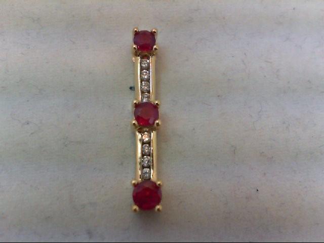 Ruby Gold-Diamond & Stone Pendant 8 Diamonds .16 Carat T.W. 14K Yellow Gold 3g