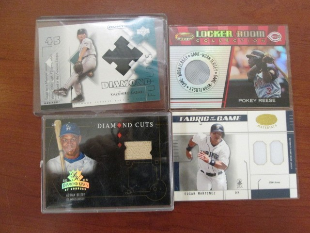 4 GAME USED BASEBALL CARDS