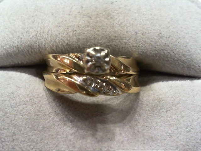 Lady's Diamond Wedding Set 2 Diamonds .03 Carat T.W. 10K Yellow Gold 2.3g