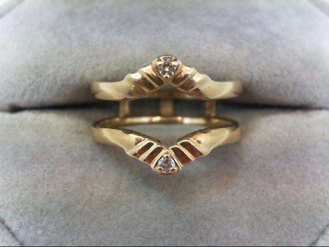 Lady's Gold-Diamond Ring Guard 2 Diamonds 0.04 Carat T.W. 14K Yellow Gold 3.9g