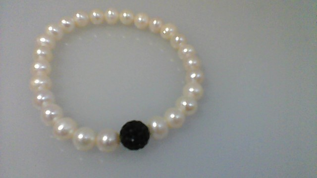 Synthetic Pearl Silver-Stone Bracelet 925 Silver 11.5g